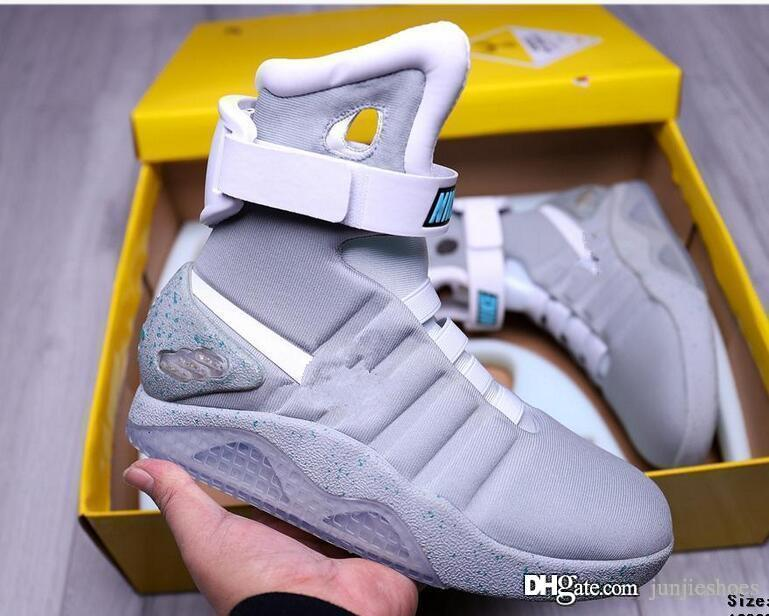 Limited Edition Air Mag Back To The Future Glow In The Dark Grey Sneakers Marty McFly LED-Schuh-Schwarz-Mag Marty McFlys Stiefel mit Kasten