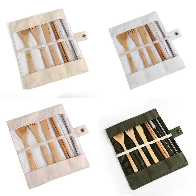 Bamboo Spoon Chopsticks Set Outdoor Travel Tableware Sets Portable Body Carry Knife Fork Spoons Suit New Arrival 11lea L1