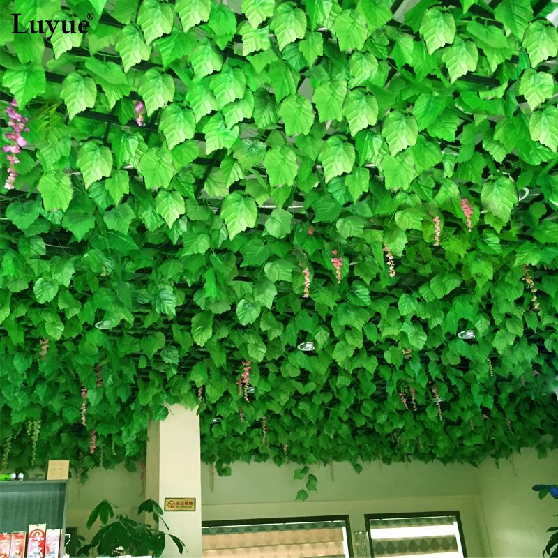 leaf wall luyue 48 Pcs/Lot Artificial Grape Ivy Leaves Wall Hanging Green plants Vine Foliage Home Garden Garland decorative flowers 240cm
