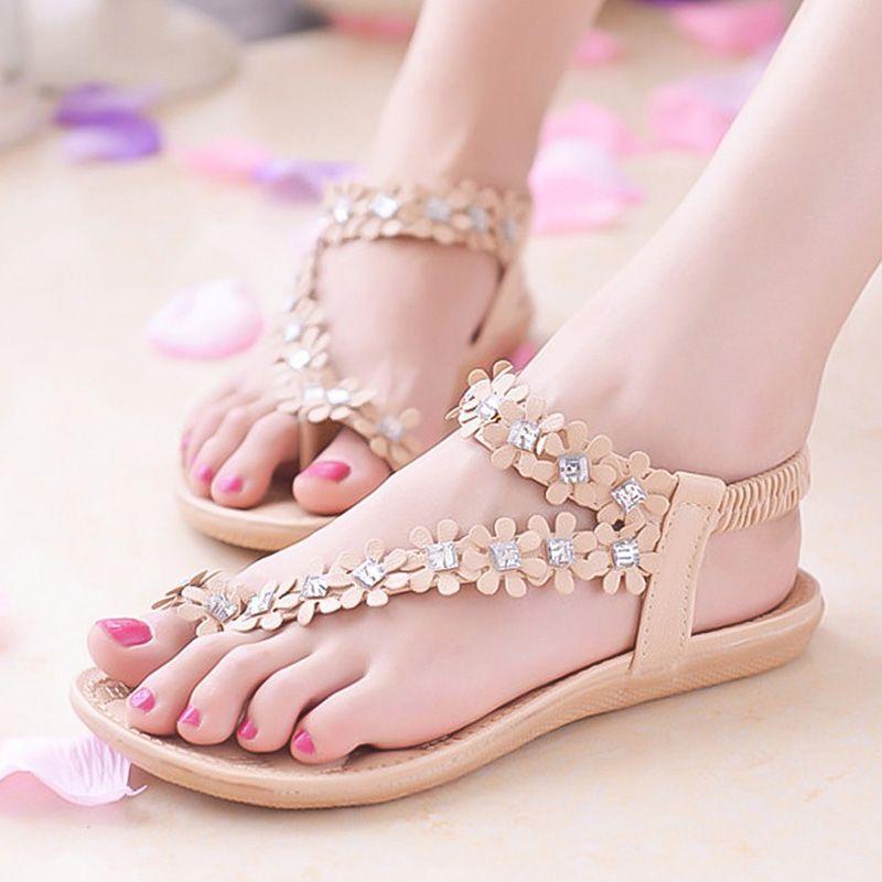 5979b05b887e Summer Women Sandals Women Shoes Fashion Flip Flops Bohemian Flat Sandals  Flowers Slippers Ladies Shoes Beach Flats Gold Sandals Sandals For Women  From ...