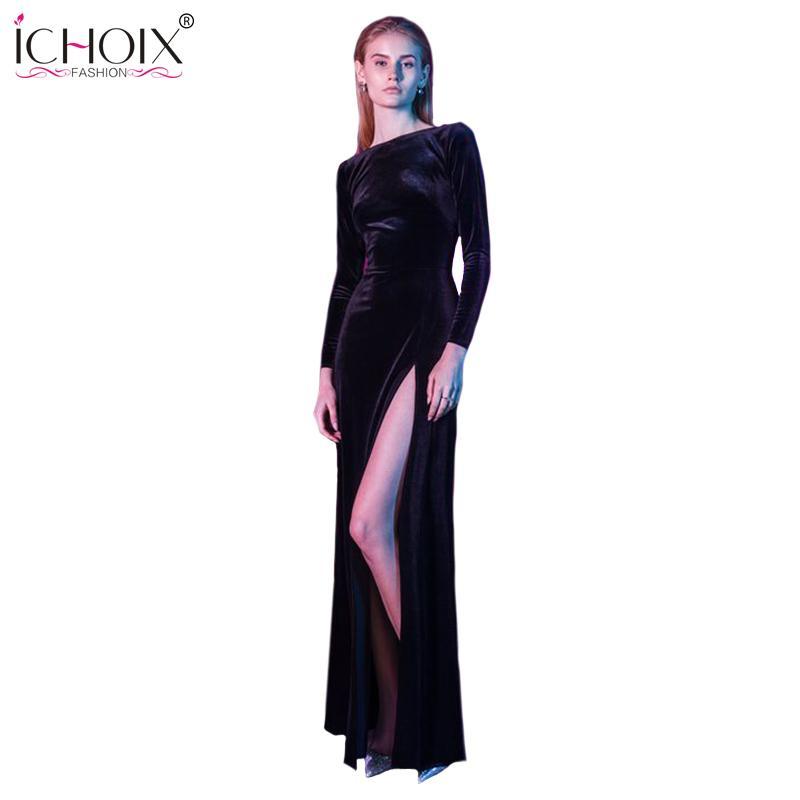 d16b1df63f206 2019 2019 New Spring Long Club Sexy Dress Black Slit Velvet Dress Long  Sleeve Sheath Bodycon Maxi Evening Party Dresses Vestidos Robe Y19012201  From ...