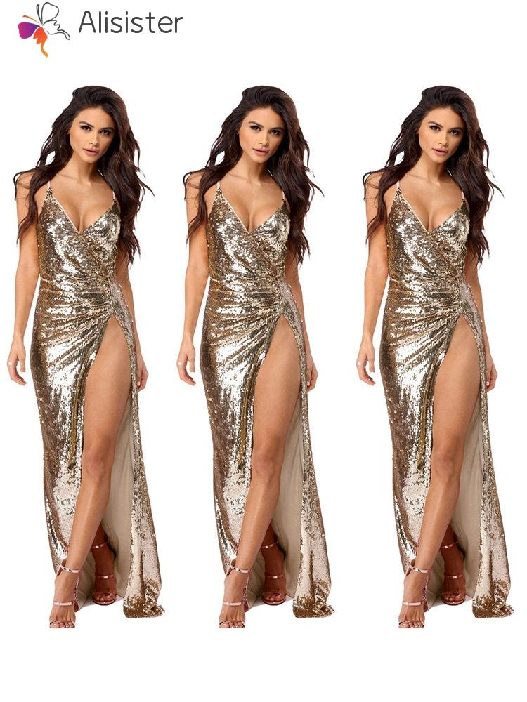 03a95090 Sexy Gold Shiny Maxi Dress Women Spaghetti Strap Deep V Neck Backless Long  Dress Split Side Evening Party Dresses Vestidos Clothes For Black Women  Casual ...