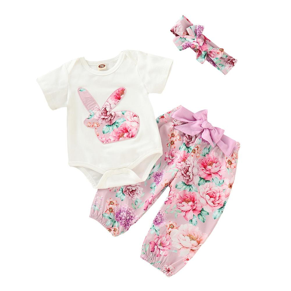 2019 Baby Girls Rabbit Applique Rompers 3pcs Sets Ins Infant Toddle Romper+floral Pant+bow Headbands Outfits Easter suit Clothing Sets