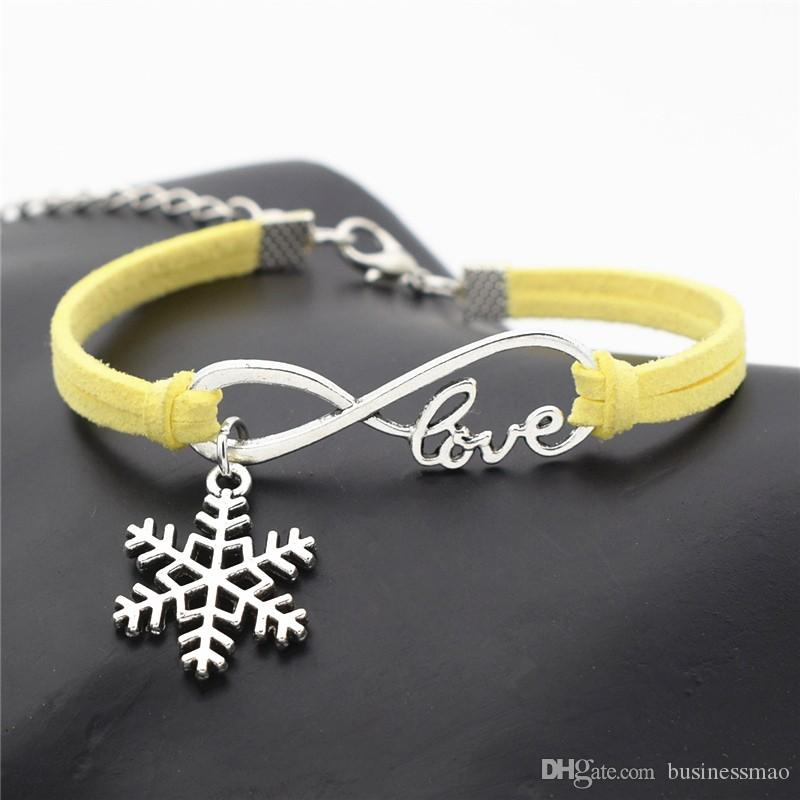 2019 New Fashion Infinity Love Snowflake Winter Pendant Bracelets Bangles For Women Men Boho Handmade Yellow Leather Suede Rope Wrap Jewelry