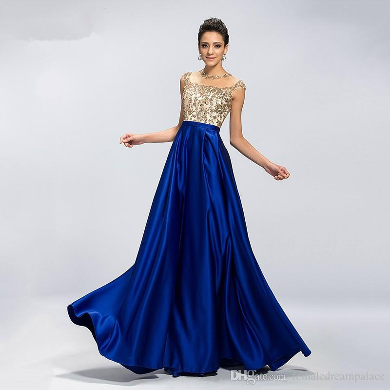 2018 Sexy Sheer Neck Blue Satin A Line Prom Dresses Hollow Back Evening Gowns Custom Floor Length Beads Appliques Party/Cocktail Dresses