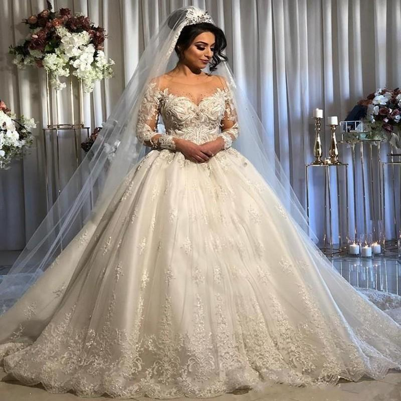 Vintage Princess Lace Beaded Arabic Wedding Dresses Sheer Neck Long Sleeves Tulle Bridal Dresses Sexy Vintage Wedding Gowns