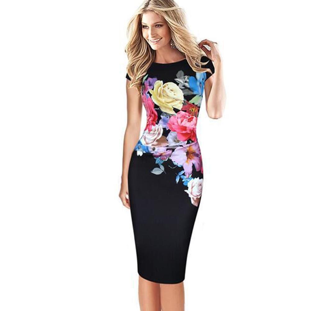 3XL Plus Size Elegant Women Midi Dress Floral Print Bodycon Dress Short  Sleeve Ruched Formal OL Work Wear Casual Pencil Dress