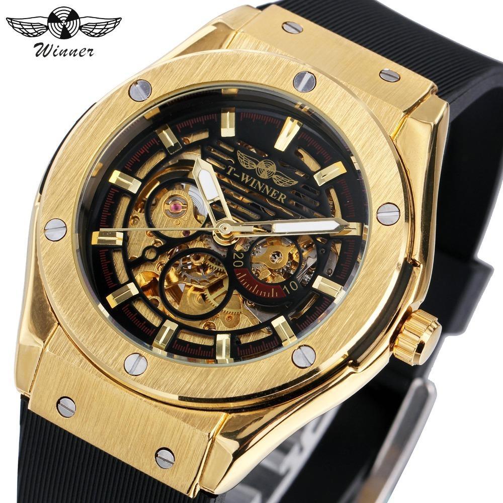 455bdae194a Compre VENCEDOR Luxo Mens Relógios Mecânicos Pulseira De Borracha Masculina Esqueleto  Automático T WINNER Relógio De Pulso Luminoso Mãos Presente De Natal ...