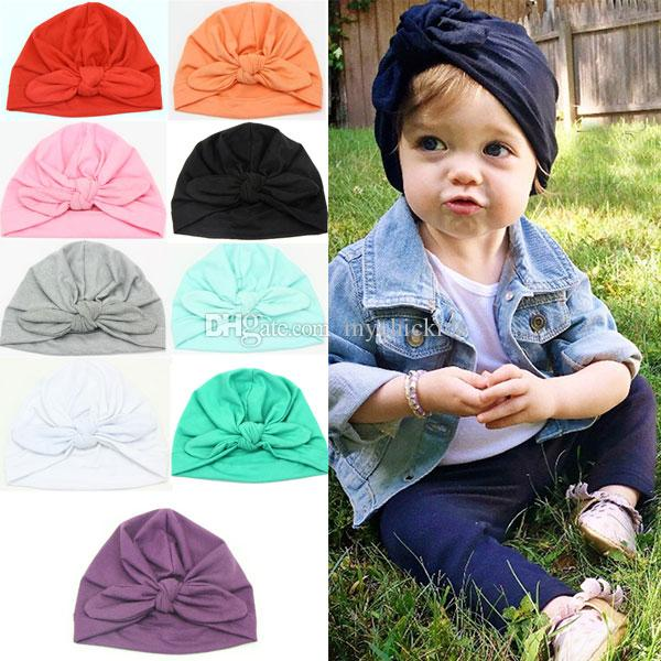 0c236ed661178 2019 INS Baby Bow Hat Bunny Ear Caps Europe Style Turban Knot Head Wraps Hats  Infant India Hats Kids Beanie Caps From Mychickids