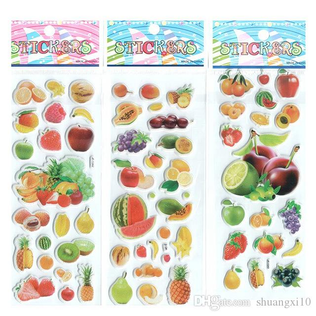 100 sheets Kids Cute Puffy Stickers Fruits Mixed Vegetable Girls Classic Learning Toy Preschool Reward School Teacher
