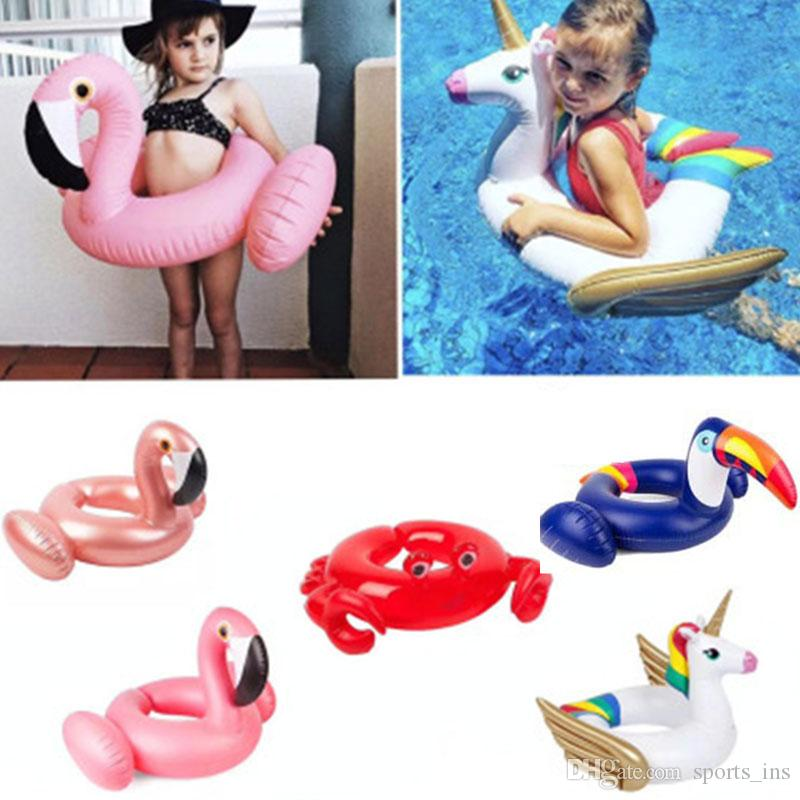Inflatable Life Buoy Flamingo Unicorn Toucan Crab Cartoon Model Swimming Ring Pool Party Decorations Toys Summer Pool Floats Tube For Kids