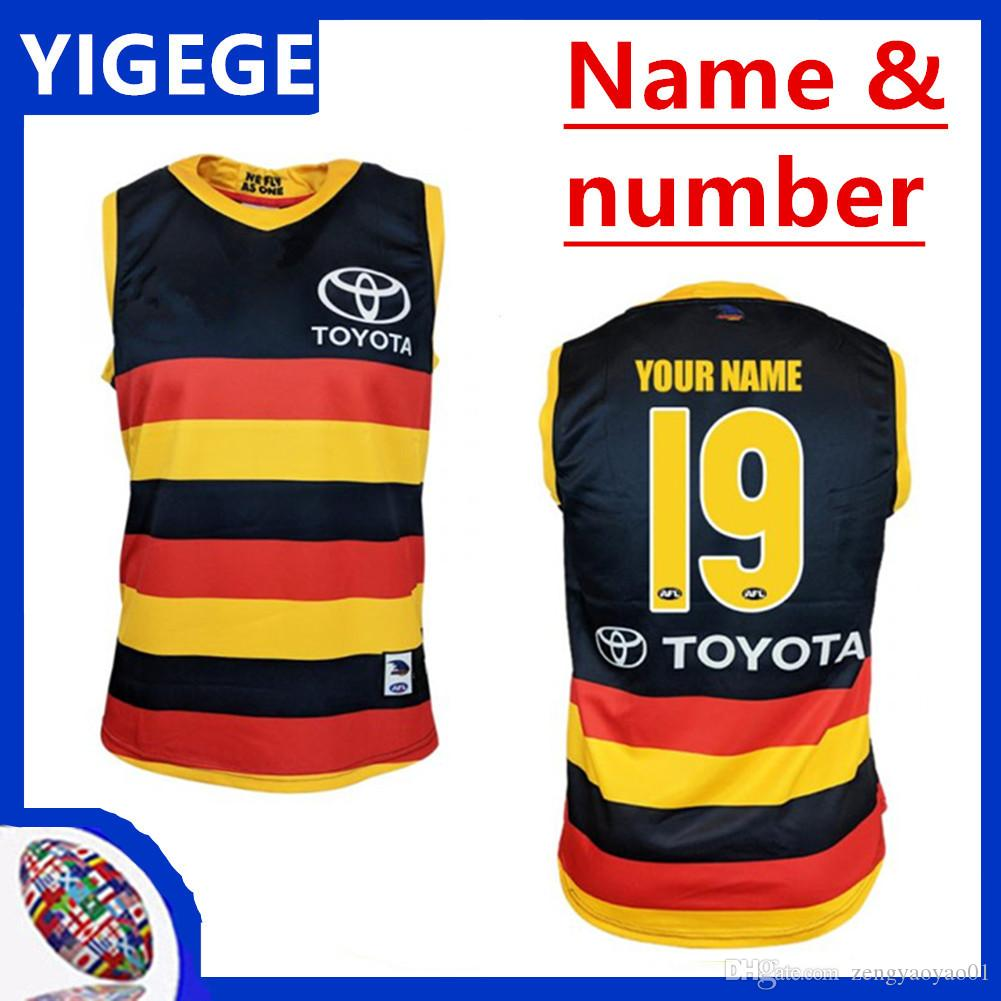 2019 ADELAIDE CROWS GUERNSEY HOME RUGBY JERSEY Adelaide Crows Magpies casa Eddie Betts senza maniche migliore qualità AFL taglia S-3XL (può stampare)