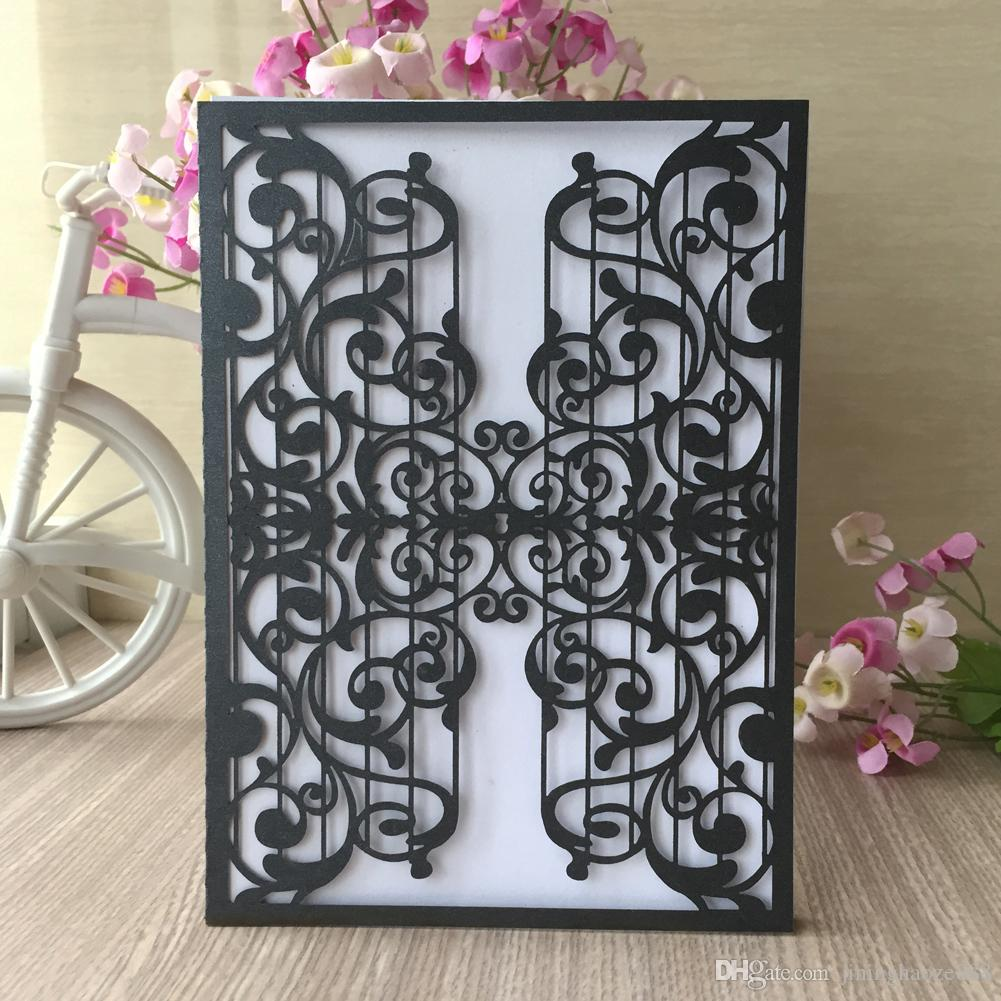 35PCS /lot Hollow Laser Cut Musical Notation Wedding Invitation Card Concert Invitations Decoration Laser Cut Pearl Paper