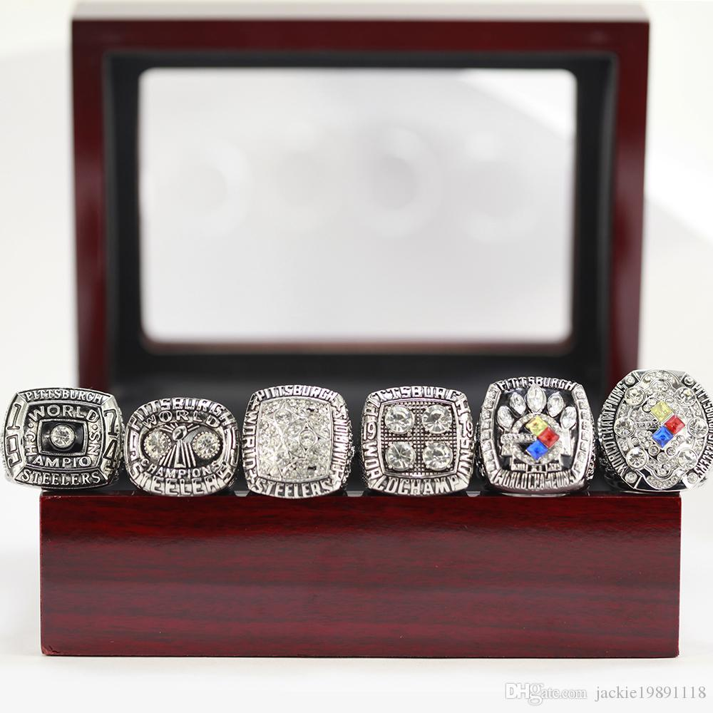 wholesale PITTSBURGH 1974 1975 1978 1979 2005 2008 STEELER Championship RING Silver FREE SHIPPING US SIZE 8-14#