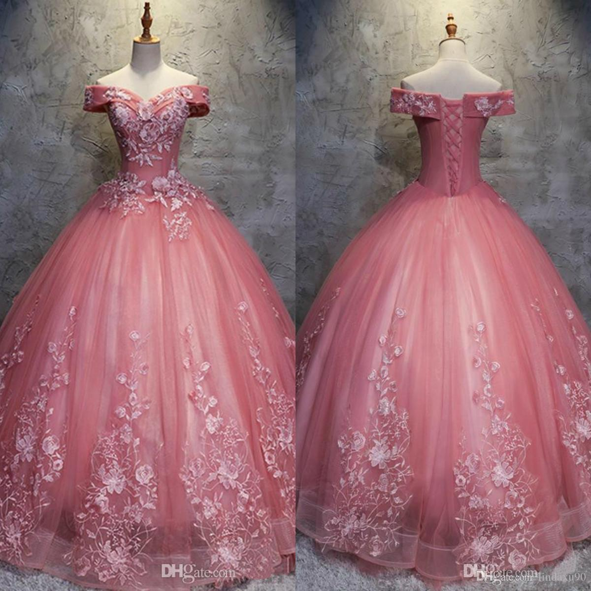 d7986e35703 Vintage 2019 Prom Dresses New Ball Gown Off The Shoulder Watermelon Tulle  Lace Appliqued Evening Gowns Arabic Formal Dress Vestidos Short Purple Prom  ...