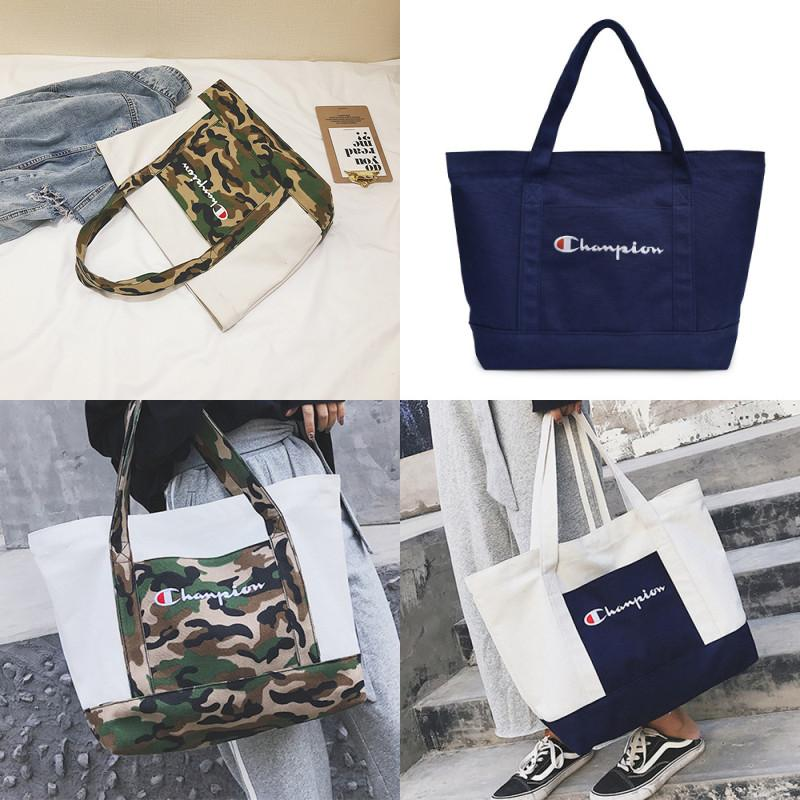 5c23be90b4504c Women Champions Canvas Handbag Letter Printed Tote Patchwork Shoulder Bag  Large Capacity Handbags Casual Sports Travel Shopping Bags C424 Little  Girls ...