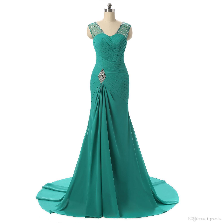092b474ad Sexy largo gasa sirena vestidos de dama de honor baratos con cuello en v  piso-longitud vestidos de baile piso-longitud dama de honor con cuentas ...