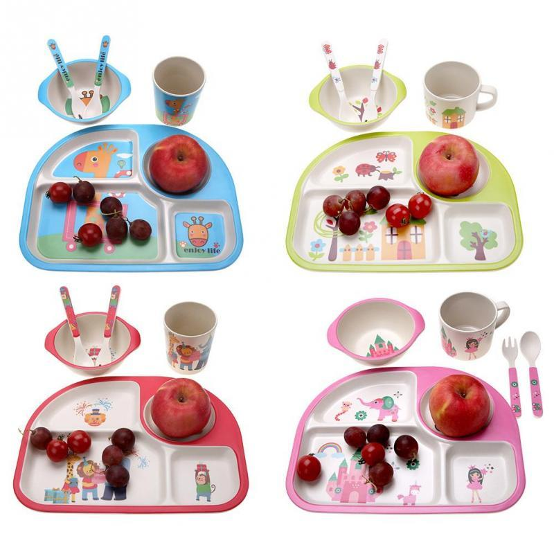 New Arrive 5Pcs/set Eco-friendly Bamboo Fiber Baby Plate Dishes 4 Slots Children Tableware Dishes Dinnerware Creative Gift baby
