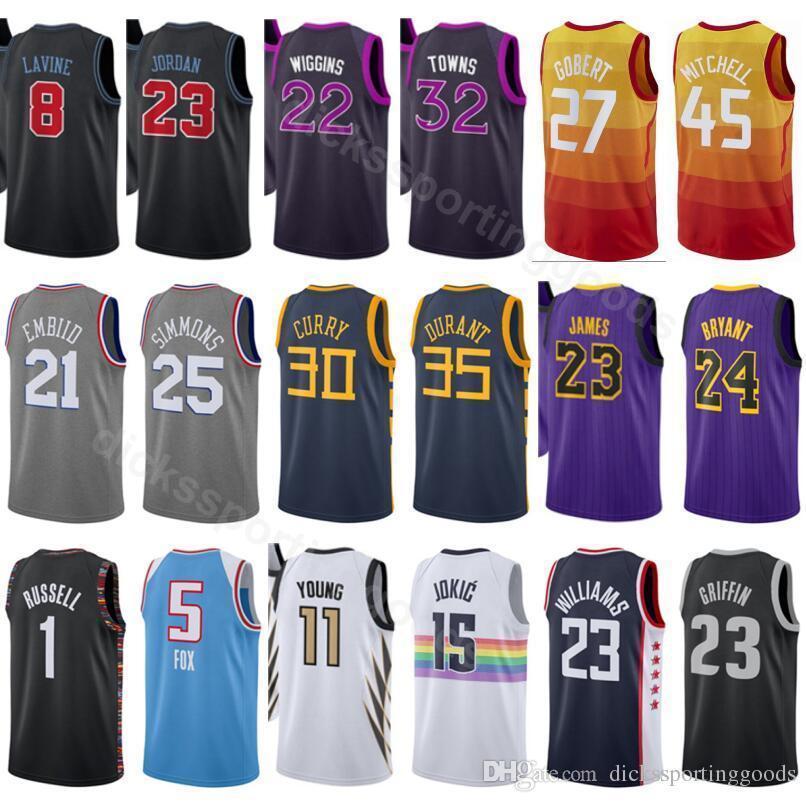 size 40 8c372 ac5cd College 27 Gobert Jersey Basketball 45 Mitchell 8 LaVine 23 Michael 32  Towns Andrew Wiggins