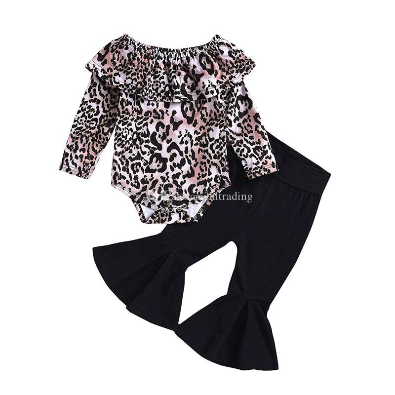 Kids Clothing Sets Leopard Long Sleeves Romper Tops+Long Flare Pants 2pcs/set Baby Thanksgiving Clothes Children Outfits M413