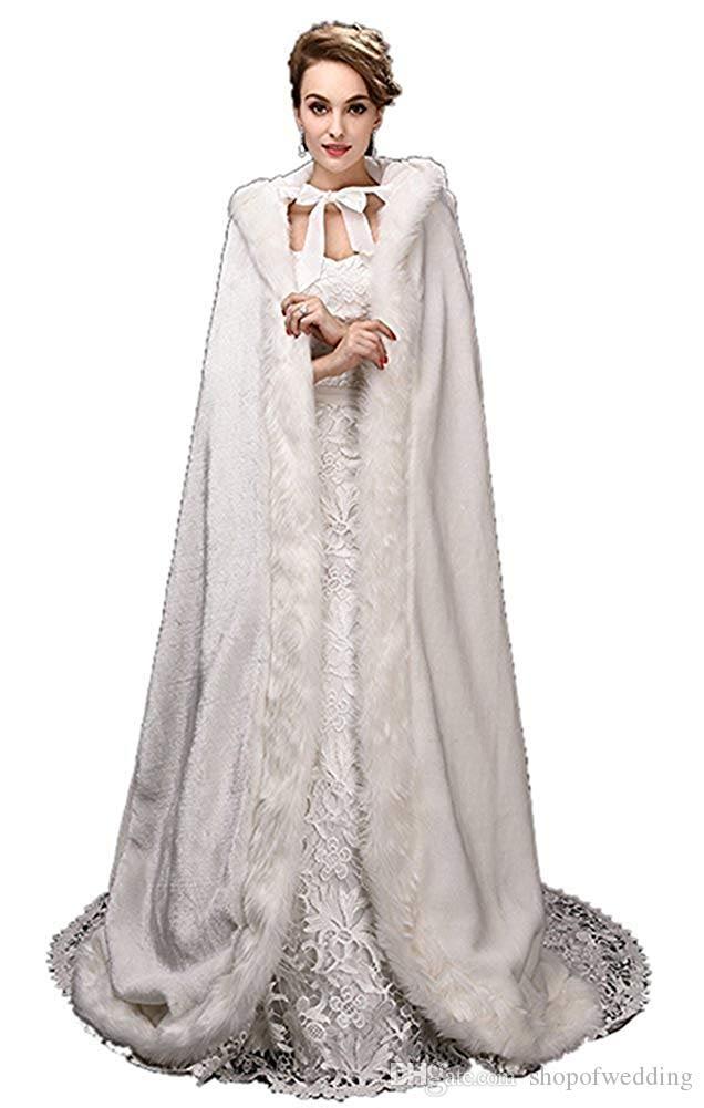 Acquista Cappotto Mantello Da Cerimonia Nuziale Da Donna Bianco Con  Cappuccio Invernale Lungo Giubbotto Da Sposa Involucro Da Faux Fur A  35.18  Dal ... 45ebc480be9f