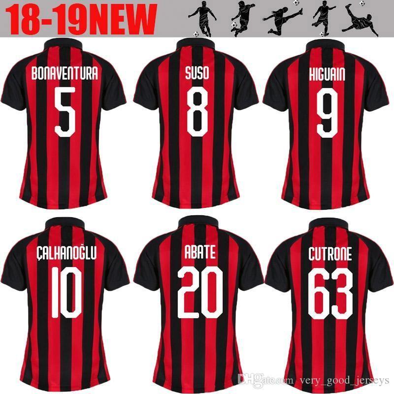 b2db62cc6 Women  9 HIGUAIN Milan Home Soccer Jersey 18 19  10 CALHANOGLU ...