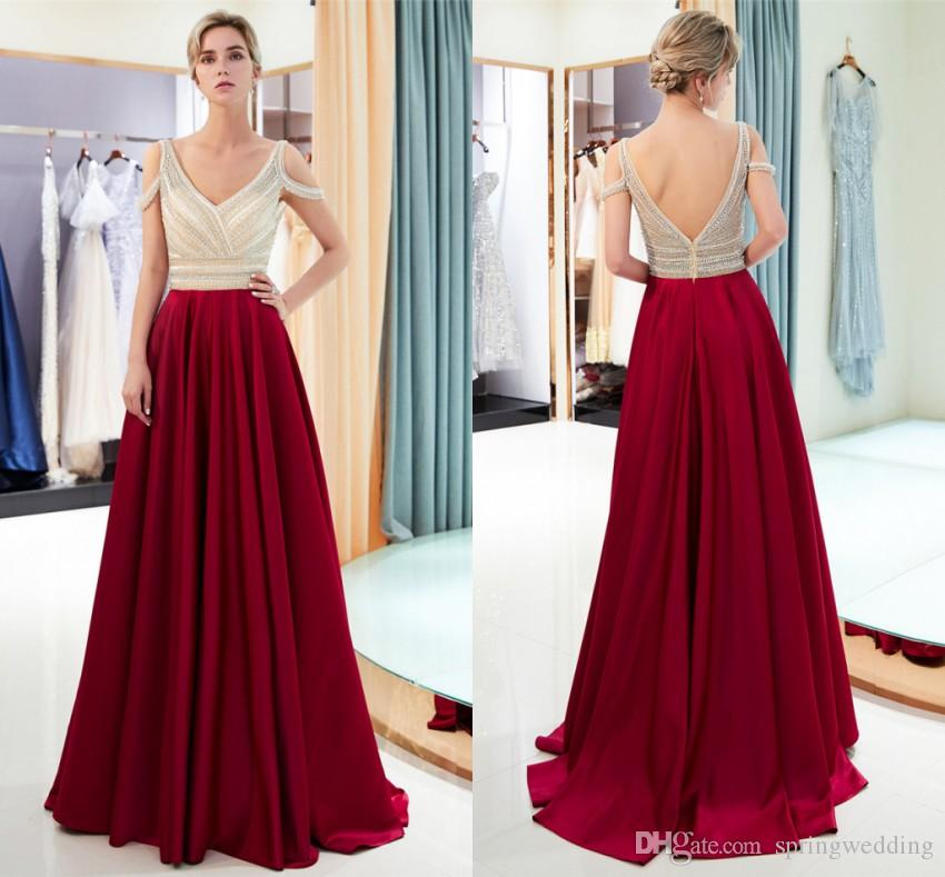 Vestido De Festa Long Burgundy Evening Dresses 2019 Off Shoulder A ... 19f063dbd5de