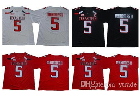 NCAA College TTU Texas Tech Red Raiders #5 Patrick Mahomes II College Football Jerseys Stitched Black White Red