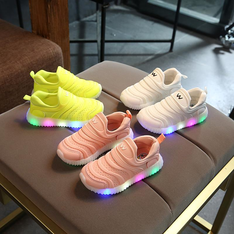 New 2020 European candy color soft LED lighted baby girls boys shoes slip in high quality toddlers glitter Cute baby sneakers