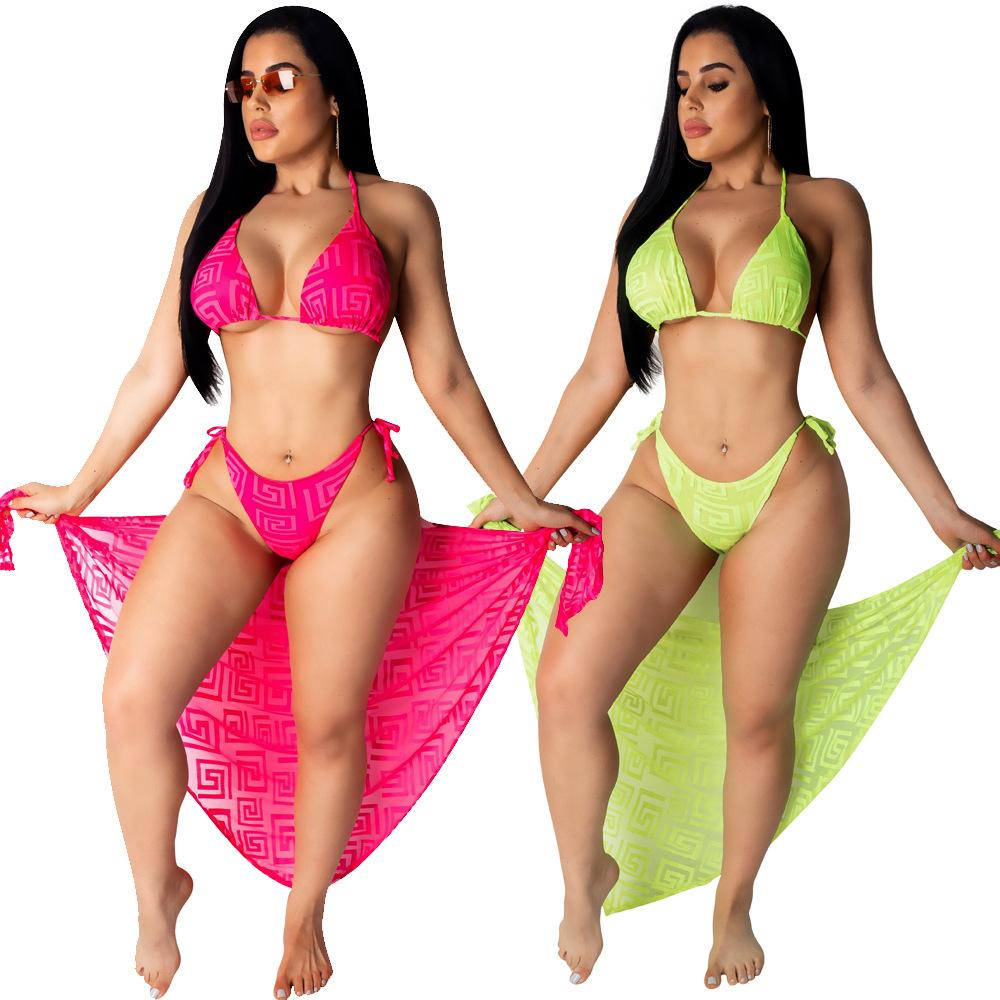 013491125df Fashion Sexy Beach 3 Piece Set Summer Bikini Crop Top And Side Short Pants  And Long Cover Scarf Suit