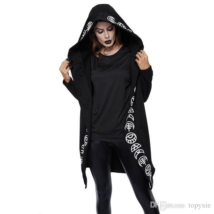 a03c382508 fashion 2018 Fall Gothic Casual Cool Chic Black Plus Size Women Sweatshirts  Loose Cotton Hooded Plain Print Female Punk Hoodies