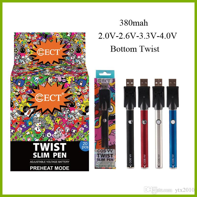 ECT cos vv 380mah bottom twist variable voltage preheat battery charger kit with 20pcs display box for thick oil vape cartridges