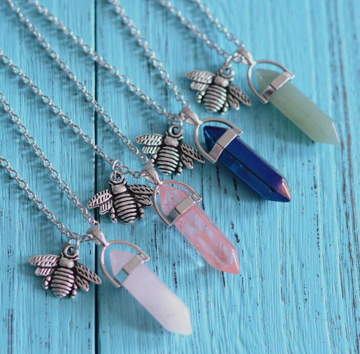 Natural Gemstone Pendant Necklace Drusy Crystal Healing Chakra Reiki Silver Stone Hexagonal Little Bee Charm Chain Necklaces For Women