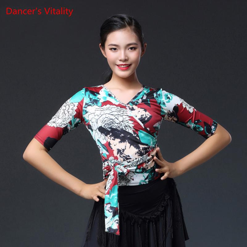 9bbb502aa7b 2019 Modern Latin Dance Costume Female Shirt Adult New Haft Sleeved ...