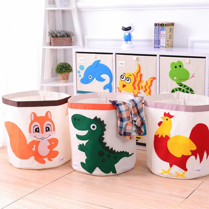 new Cartoon Folding Canvas storage basket clothing organizers kid toys storage box Laundry large storage basket