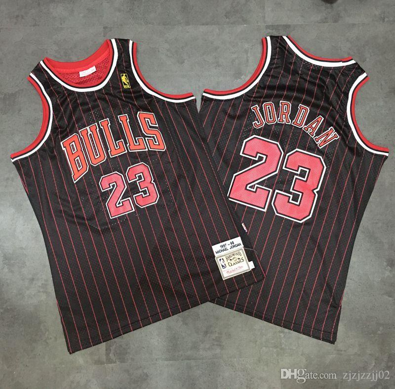 274a6d2d7e6 Mitchell amp  Ness Bulls 23 Mitchell Black Red Stripe Tight Embroidered  Jersey