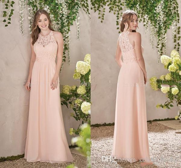 2019 Blush Pink Bridesmaid Dresses A Line Jewel Cap Sleeve Floor Length Wedding Guest Dresses With Lace Chiffon For Beach Garden