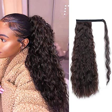 160g Long Curly Ponytail Extension for black Women Human hair Wrap Around Magic Paste Yaki Ponytail Corn Wave Clip in Hairpiece quality Hair