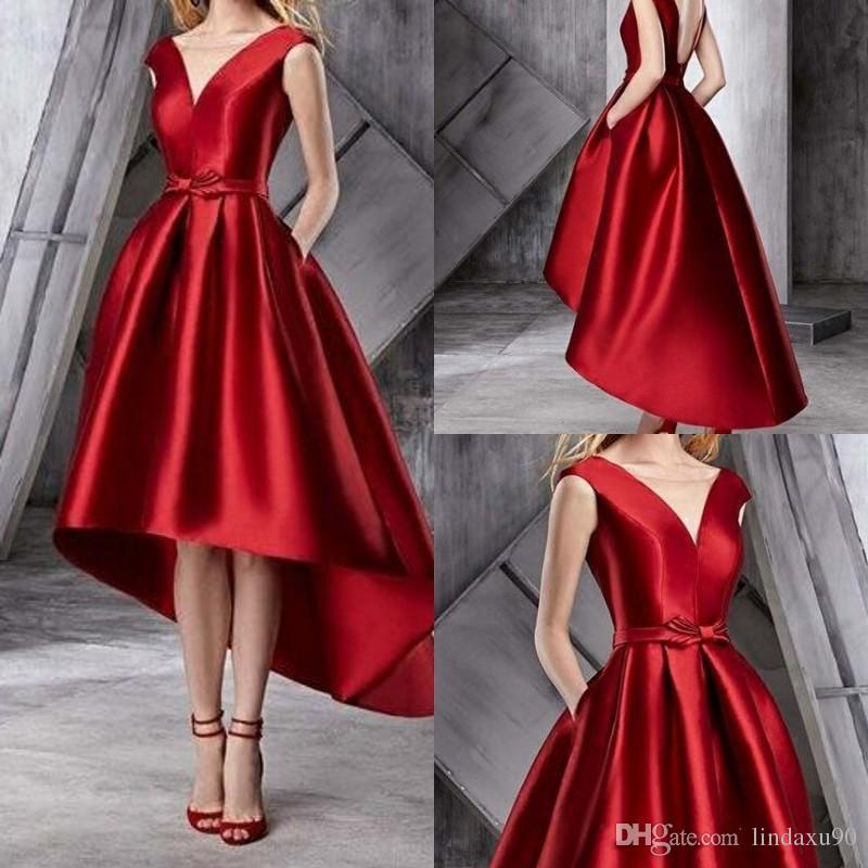 6c8bb9122 Cheap High Low Satin Prom Dresses Red Black Girls Formal Party Gowns V Neck  A Line Dubai Arabic Evening Dress With Pockets Make Your Own Prom Dress  Online ...