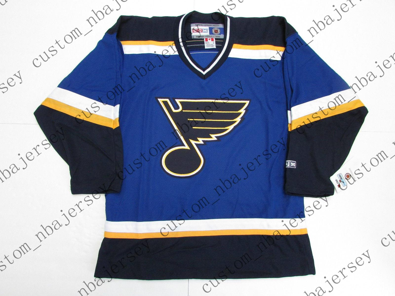 Cheap custom ST. LOUIS BLUES VINTAGE CCM HOCKEY JERSEY stitch add any number any name Mens Hockey Jersey XS-5XL