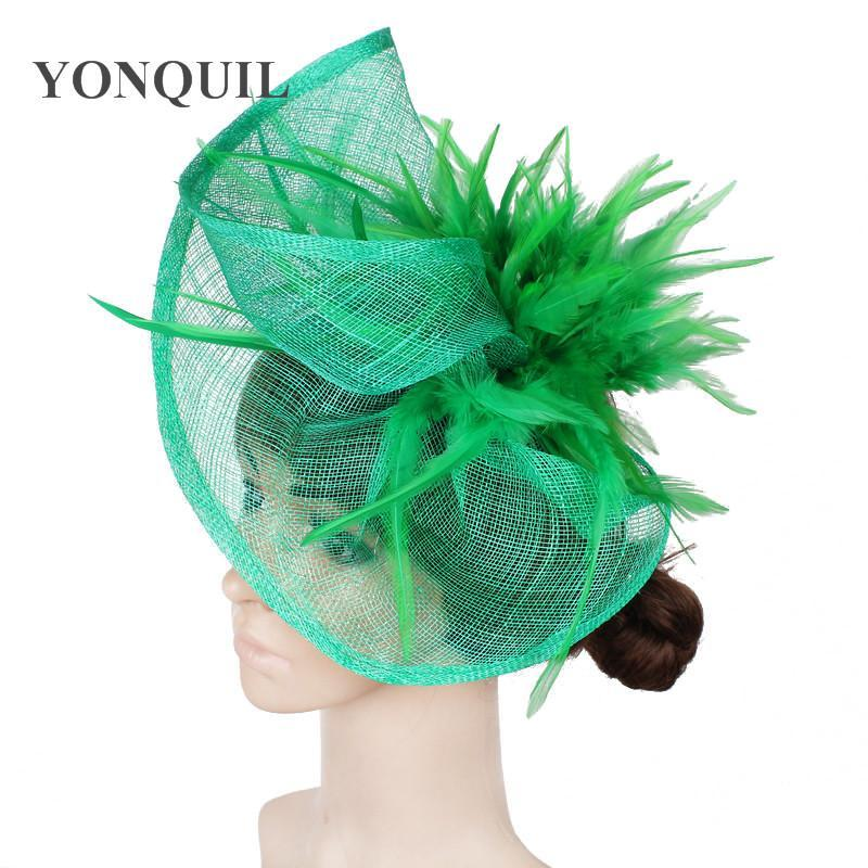 Women multiple colors high quality fascinators hats with feather hair accessories fascinator hat event headwear MYQ032