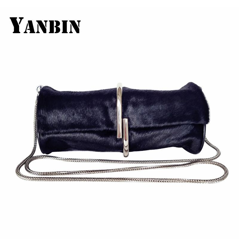 629e167b4410 2019 New Europe and America Fashion Women's Shoulder bag Fluff and cowhide  Clutch bag clutcher female genuine leather Sling Bags