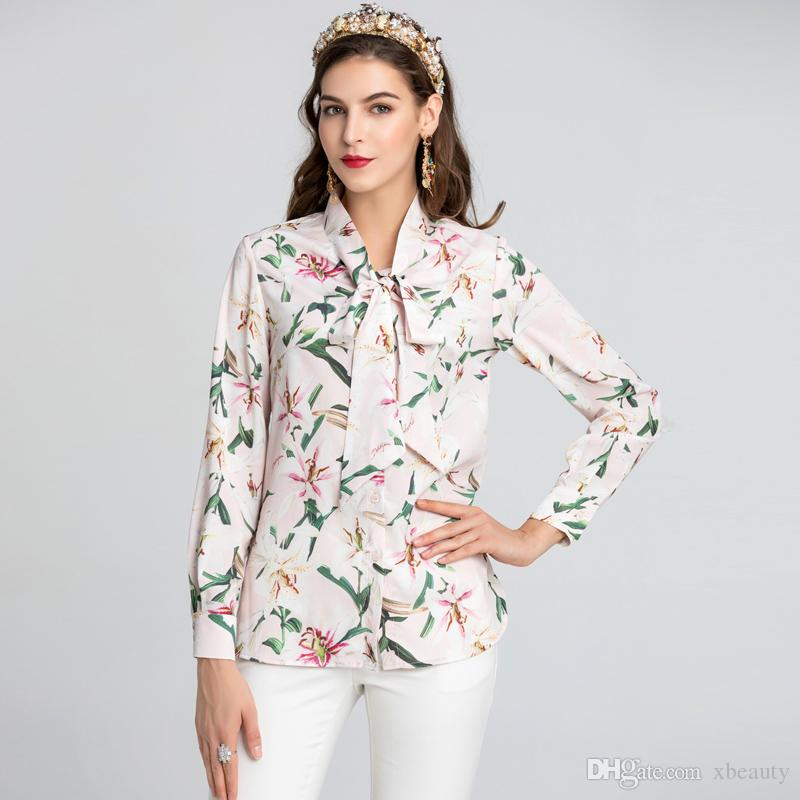 Women's Runway Designer Shirts Bow Collar Long Sleeves Floral Printed Fashion Casual Shirts