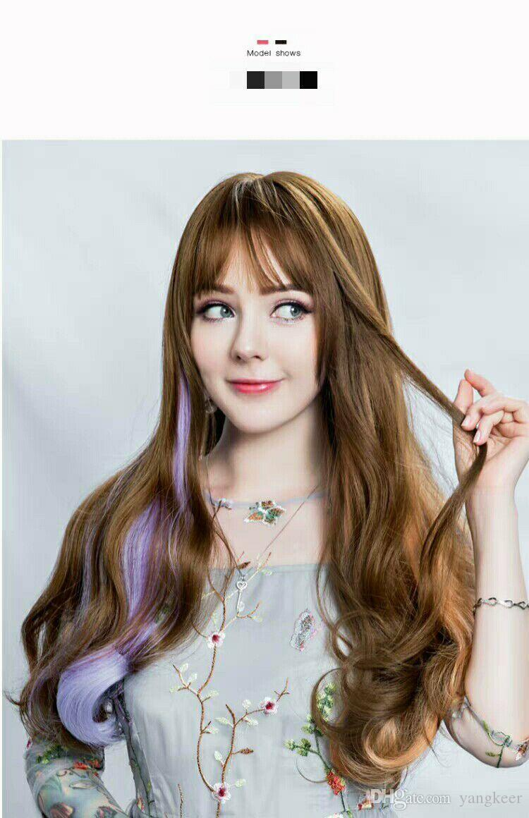 color wig piece, long hair for women, long curly hair big wave, no