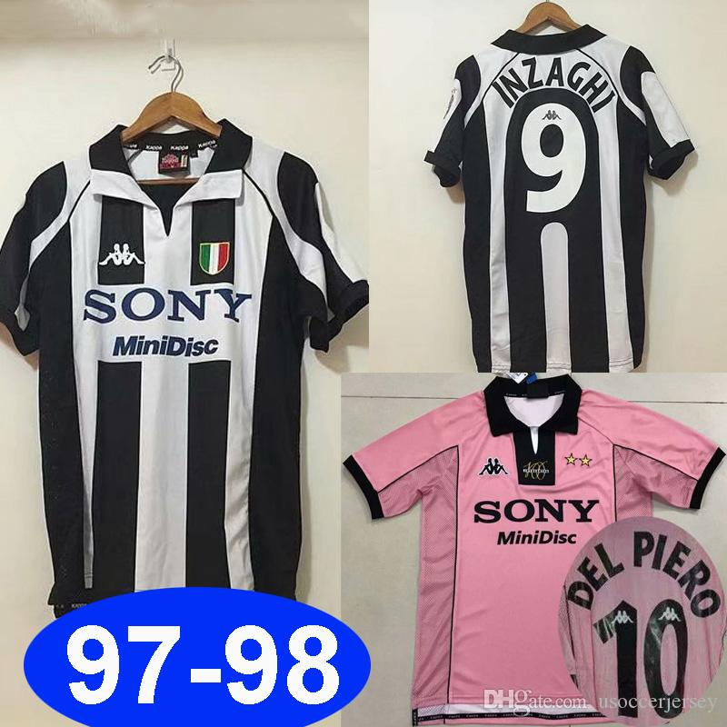 on sale 8889d a12ab Retro 1997 98 Juventus Centenary Alessandro Del Piero 10 ZIDANE Pink Soccer  Jerseys INZAGHI Home Football Shirts Maglia Camiseta De Fútbol