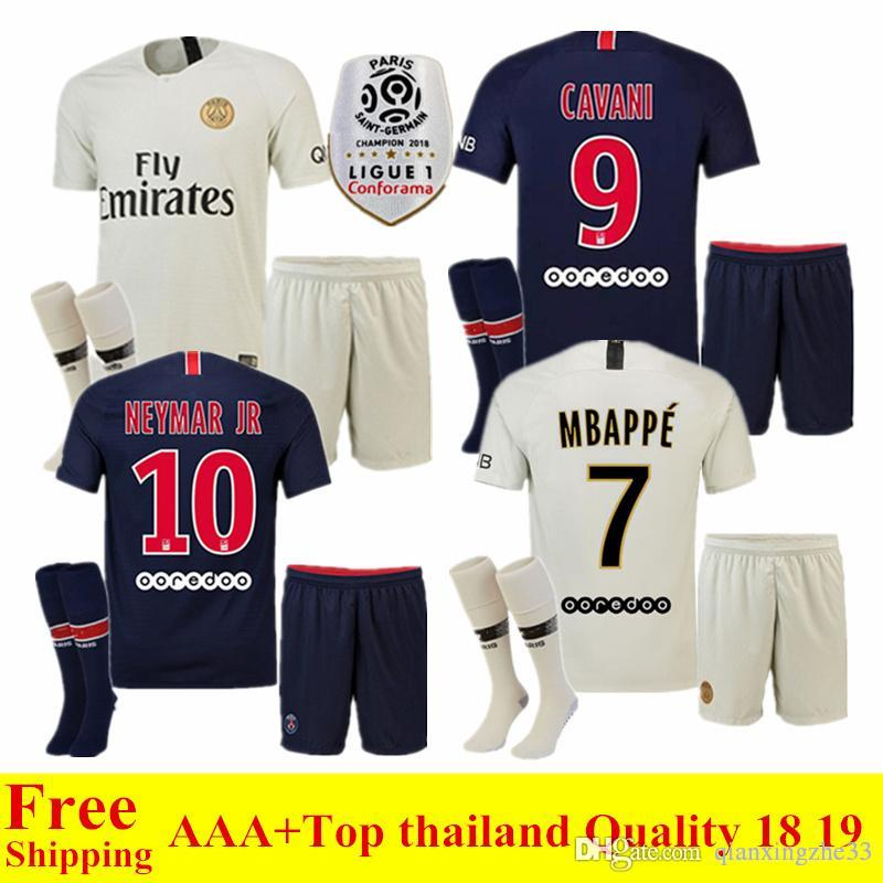 5919458b 2019 New 18 19 Ligue 1 Psg Soccer Jersey MBAPPE 2018 2019 Paris Saint  Germain Home Away Jersey DI MARIA CAVANI Football Uniform Sets From  Qianxingzhe33, ...