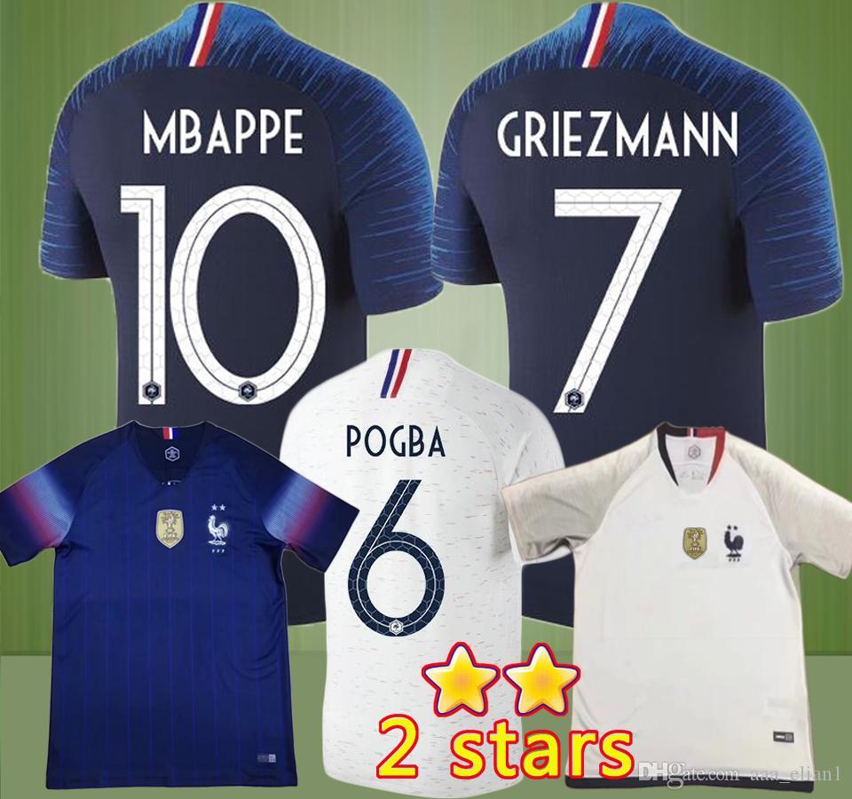 size 40 448dc 564fd 2 stars 2018 MBAPPE POGBA GRIEZMANN GIROUD Soccer Jersey World Cup jerseys  KANTE FEKIR 18 19 National Team home away Football shirt