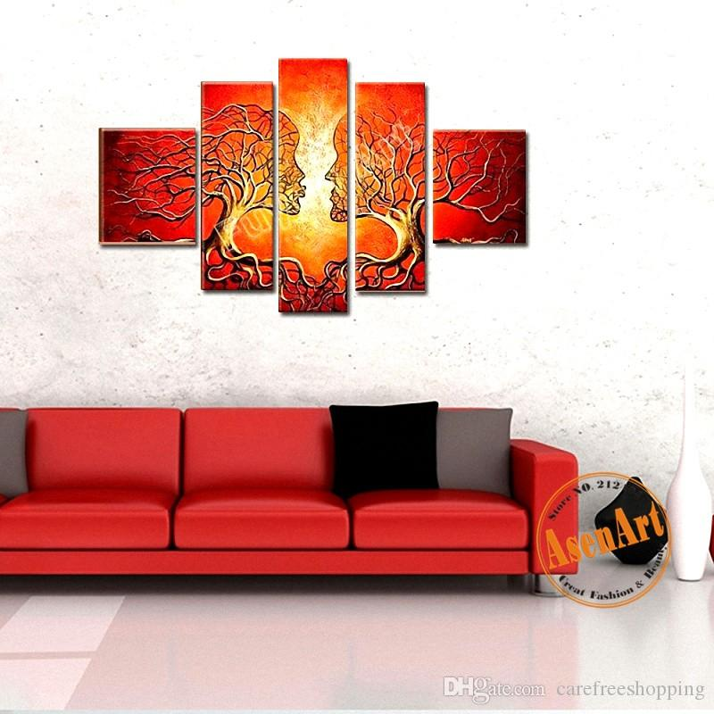 Hand Painted Oil Painting on Canvas Abstract Women Red Tree Painting ... cfde9e702