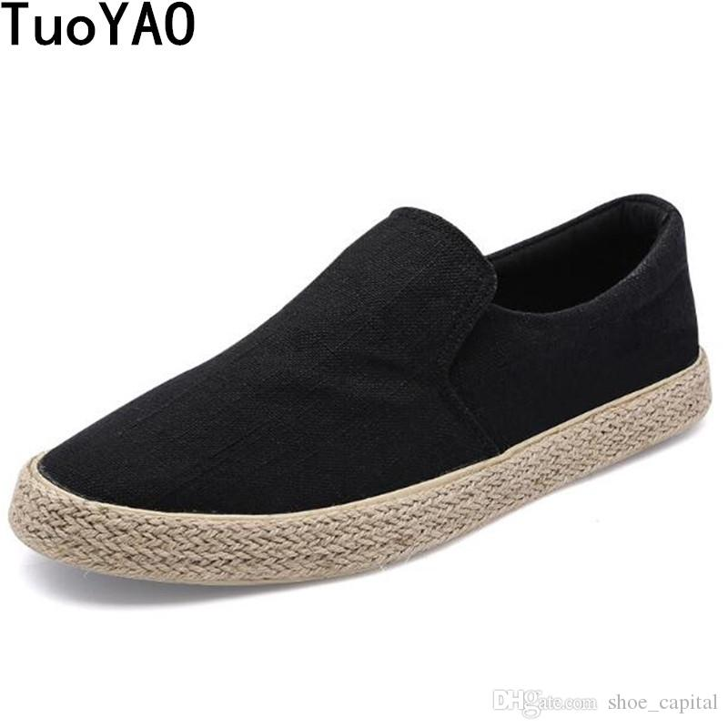 a89e0d05b4e New 2018 Spring Fashion Men Canvas Shoes Espadrilles Men Casual Shoes Slip  On Breathable Loafers Flats Shoe Zapatos Hombre  55097 High Top Shoes Cheap  Shoes ...
