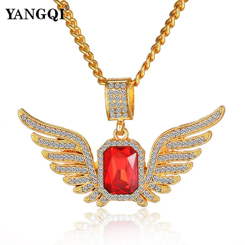 Wholesale YANGQI Hip Hop Ice Out Angle Wing Necklace Women Men Bling Bling  Full Rhinestone Luxury Hiphop Statement Necklace Jewelry Gifts Wolf Pendant  ... cb7752b36